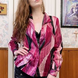 Alfred Dunner Petite Abstract Pink Blouse Sz 12P